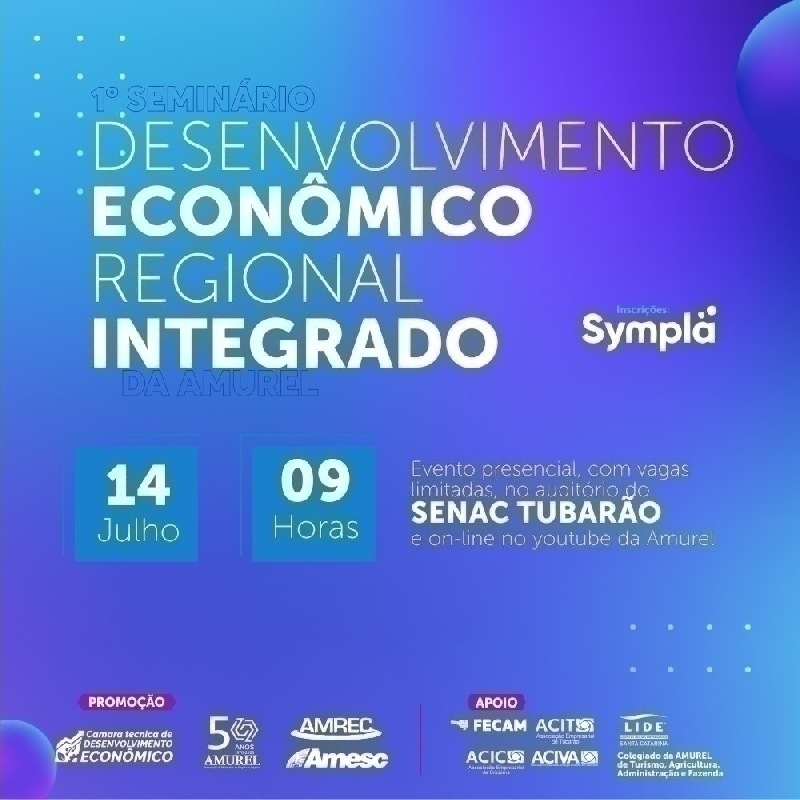 Seminário de Desenvolvimento Regional será dia 14 deste mês